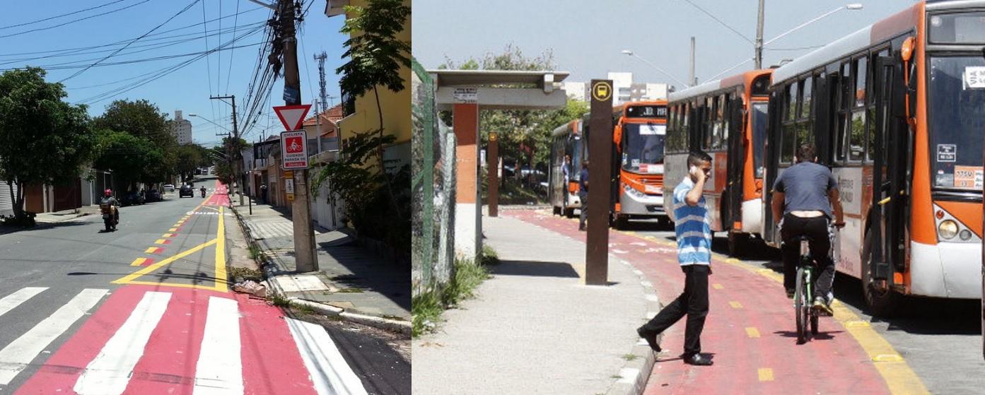 pontos de ônibus ciclovias