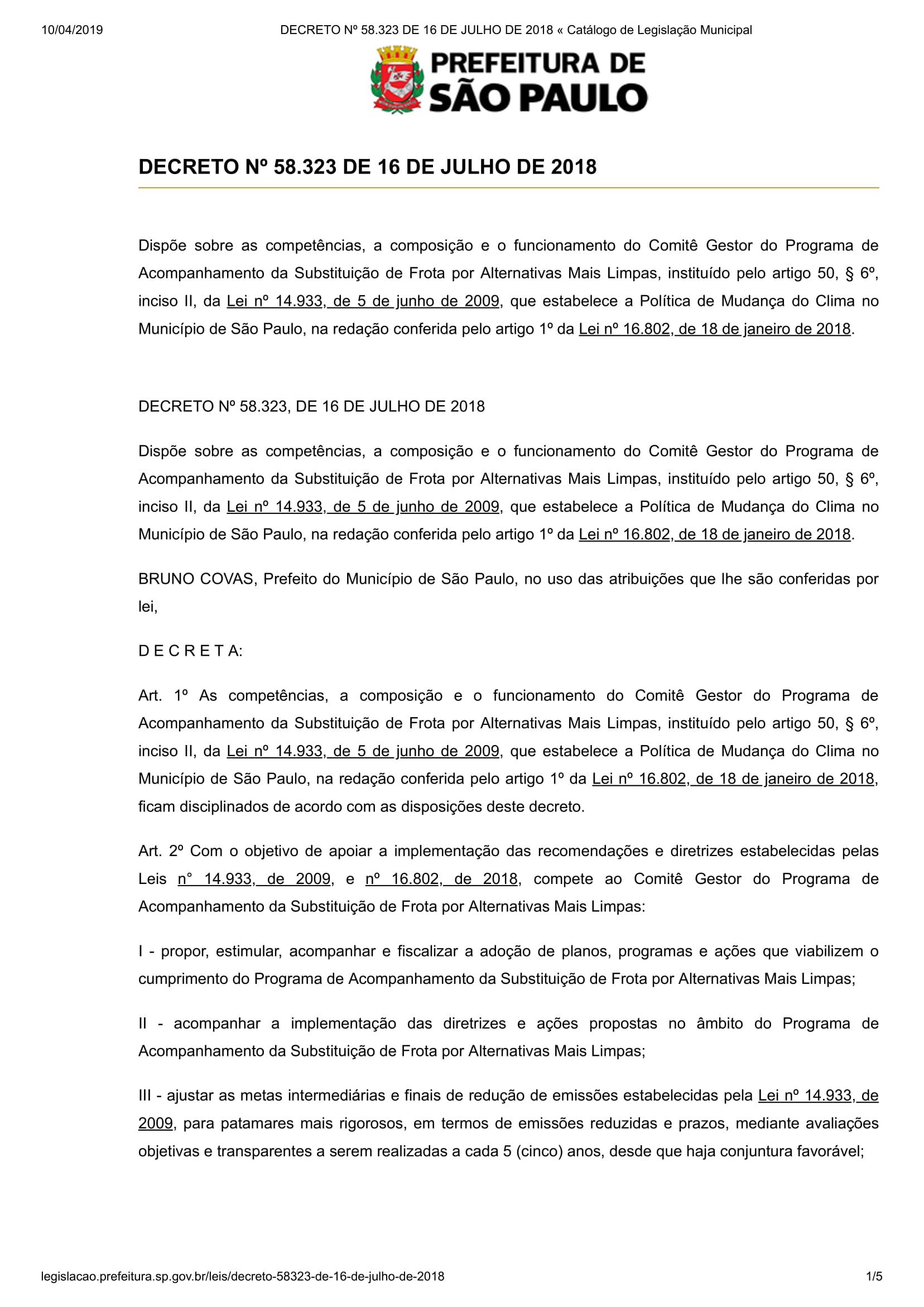 DECRETO Nº 58.323 DE 16 DE JULHO DE 2018 « Catálogo de Legislação Municipal-1