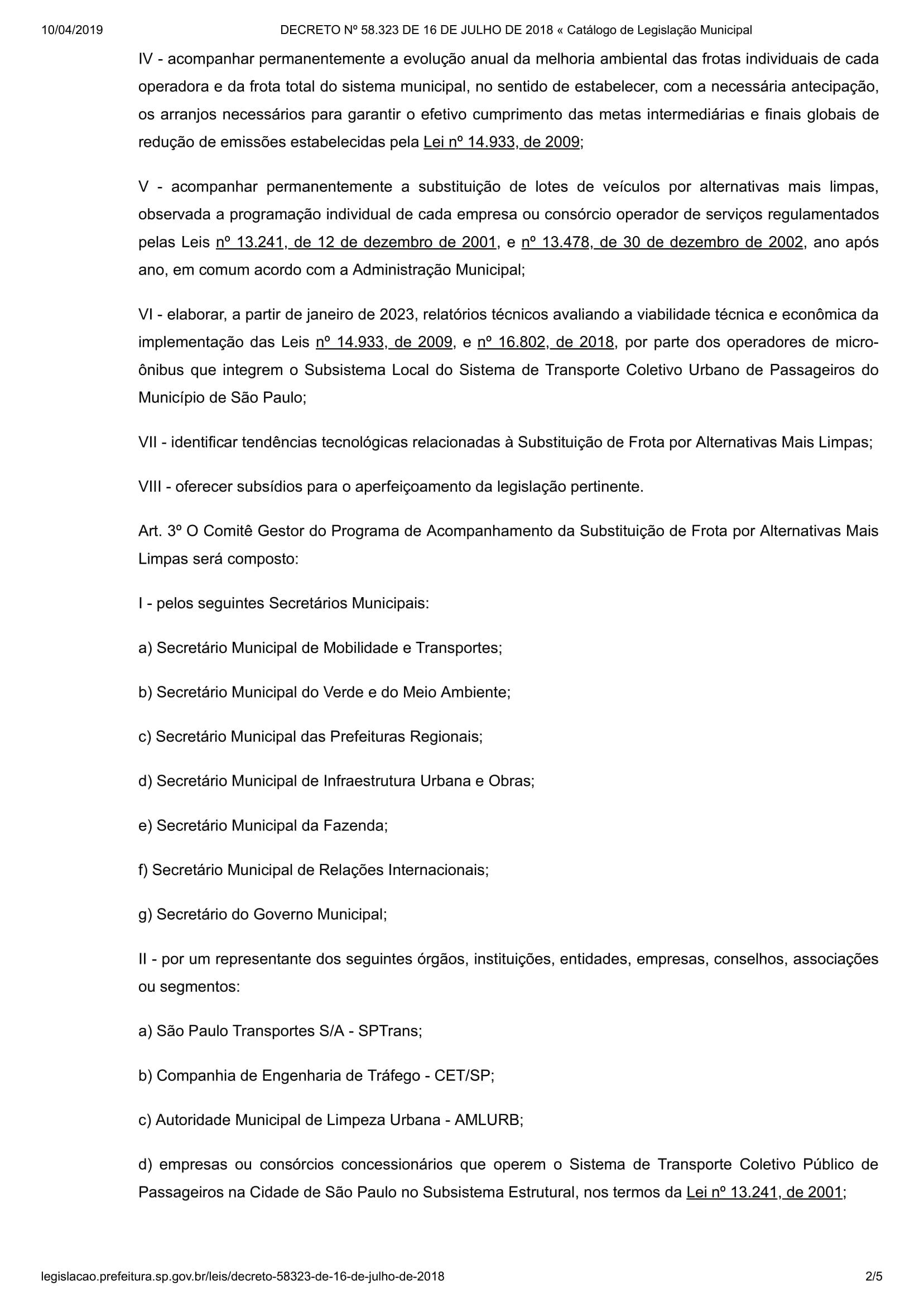 DECRETO Nº 58.323 DE 16 DE JULHO DE 2018 « Catálogo de Legislação Municipal-2