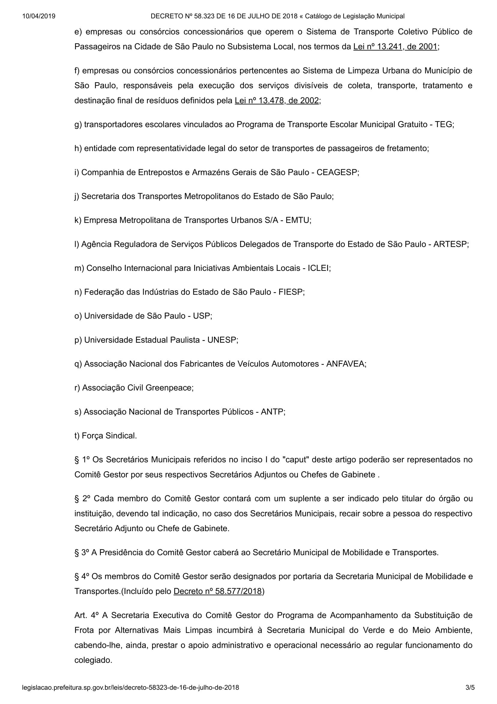 DECRETO Nº 58.323 DE 16 DE JULHO DE 2018 « Catálogo de Legislação Municipal-3