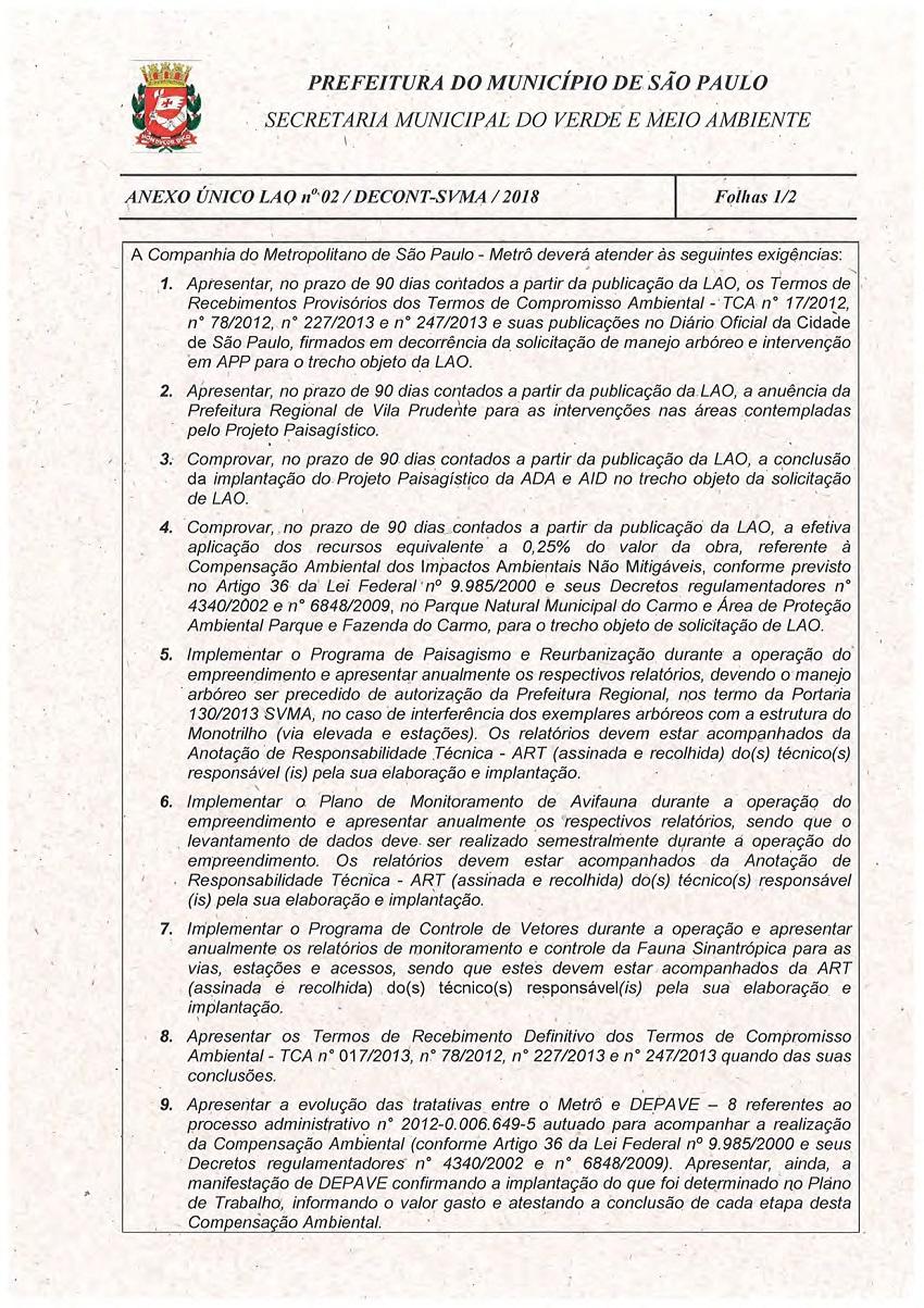 Licença de Operação - Linha 15-Prata 02