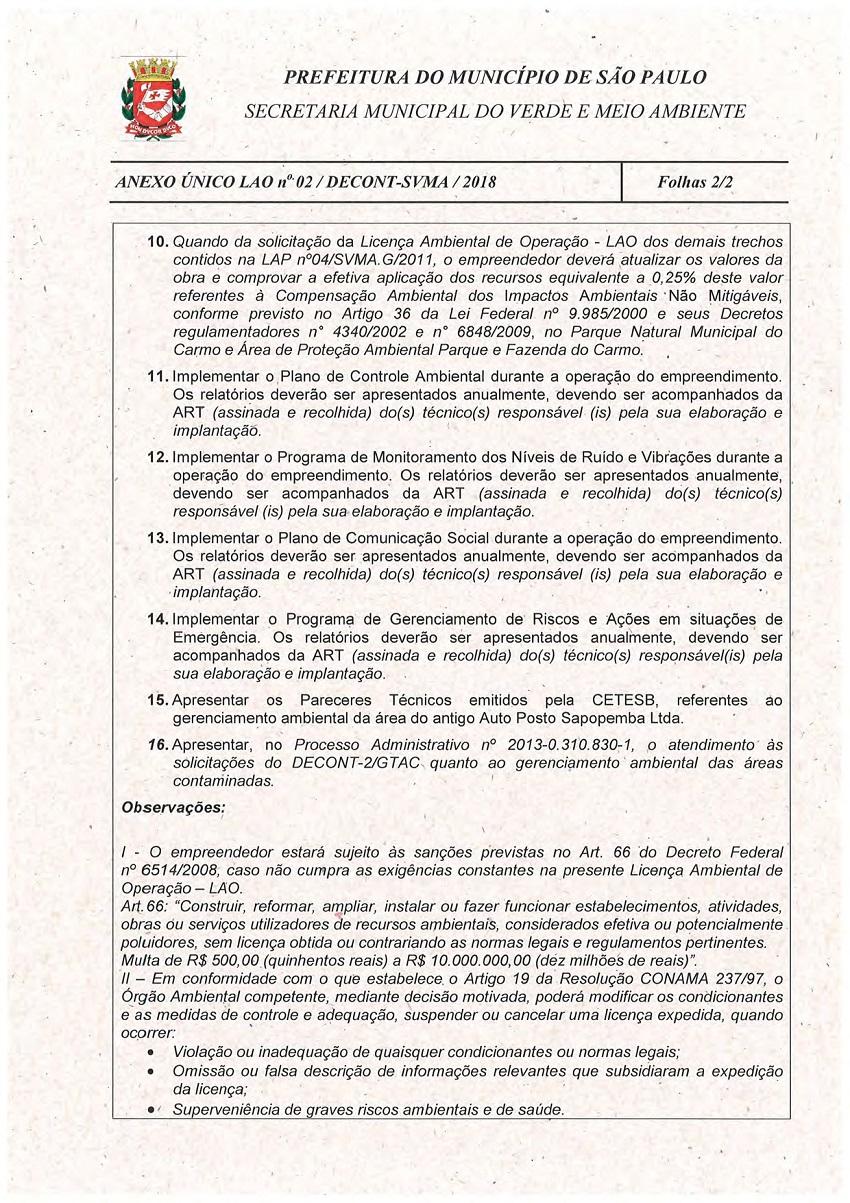 Licença de Operação - Linha 15-Prata 03